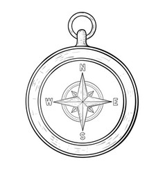 compass hand drawn sketch vector image