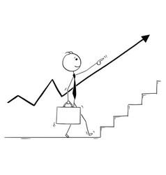 Conceptual cartoon of business man following up vector
