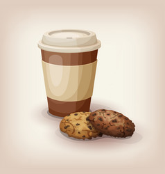 Cup of coffee and chocolate chip cookies vector