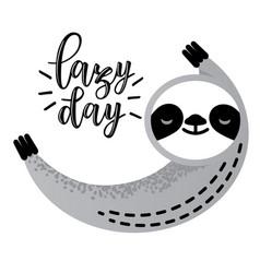 cute sleeping sloth bear animal vector image