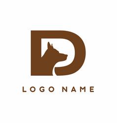 D letter with dog head inside logo vector