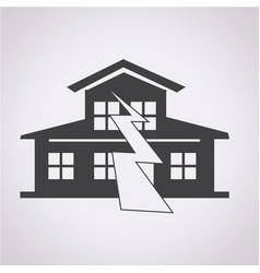 Earthquake symbol icon vector