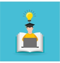 eduation online concept student knowledge school vector image