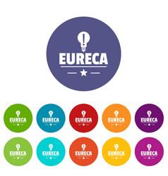 Eureka bulb icons set color vector