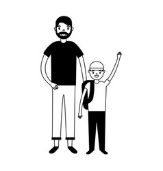 father and son with backpacks vector image
