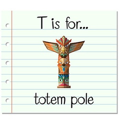 Flashcard letter T is for totem pole vector