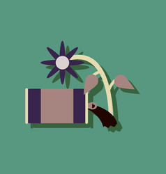 Flat icon design collection canned and flower in vector