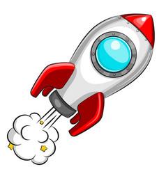 flying white rocket on white background vector image