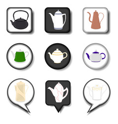 for set of colored ceramic teapot vector image