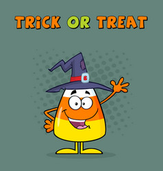 Funny candy corn character with a witch hat vector