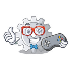 Gamer gear settings mechanism on mascot shape vector
