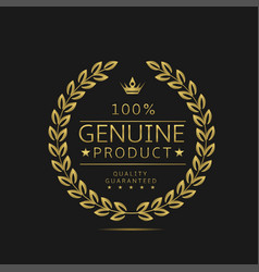 genuine product label vector image
