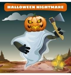 Ghost with an axe congratulates on holiday vector