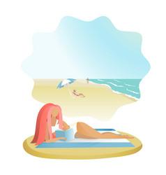 girl reading book on sea beach vector image