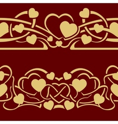 Gold valentine seamless border vector image