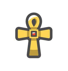 Golden cross christianity symbol icon vector