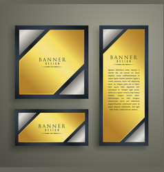 golden premium banner set design template vector image