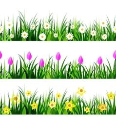 Green Grass seamless set vector image