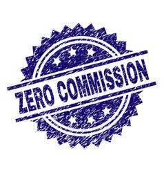 Grunge textured zero commission stamp seal vector