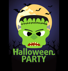 Halloween party banner with frankenstein vector