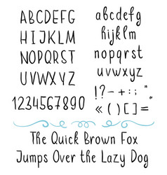 handwritten brushed thin font with symbols vector image