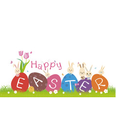 Happy easter concept cute rabbit on green grass vector
