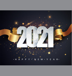 Happy new 2021 year winter holiday greeting card vector