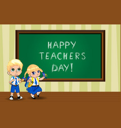 Happy teachers day greeting card with cute cartoon vector