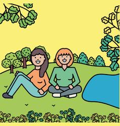 happy young women in park vector image