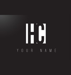hc letter logo with black and white negative vector image