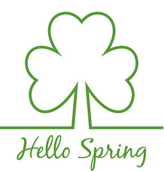 Hello Spring minimal card Shamrock Four leaf vector image