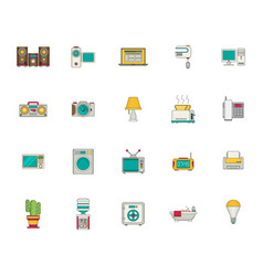 Household appliances and things icon set flat vector