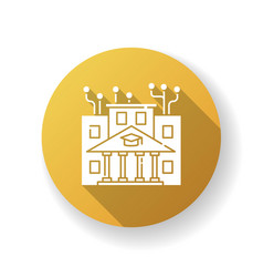 Institute technology yellow flat design long vector