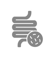 Intestine with bacteria grey icon diseased vector
