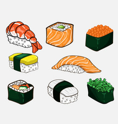 japanese sushi collection vector image