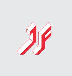 Jf - logo or 2-letter code isometric 3d font vector