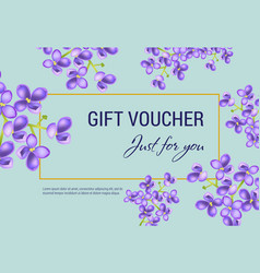 Just for you gift voucher design with lilac vector