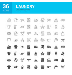 laundry line web glyph icons vector image