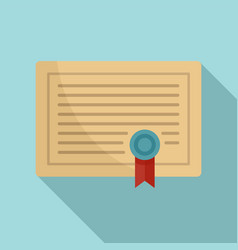 learning certificate icon flat style vector image
