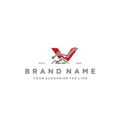 Letter v mountain finance logo design concept vector