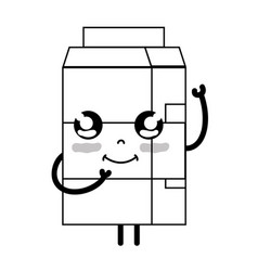 Line kawaii cute happy milk box vector