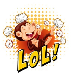 Little monkey laughing on floor vector