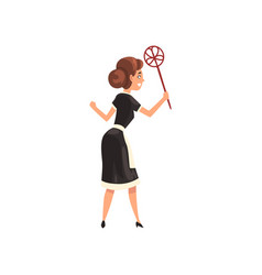 Maid with duster housemaid character wearing vector