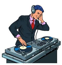 Male businessman dj on vinyl turntables concert vector