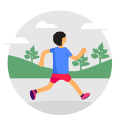 man running in park forest trees and hills on vector image