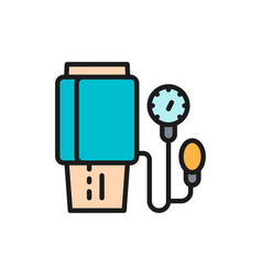 Measurement blood pressure flat color vector