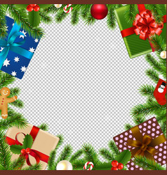 merry christmas border transparent background vector image
