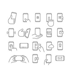 Modern smartphones icons linear pictograms vector