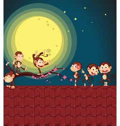 Monkeys on roof vector