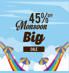 monsoon big sales and discounts vector image